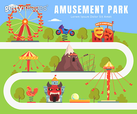 Map of Amusement Park, Summer Landscape, Attractions, Castle, Ferris Wheel, Seesaw Vector Illustration