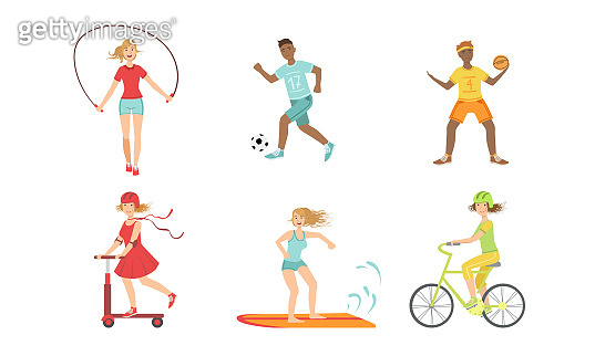 People Doing Different Kinds of Sports Set, Hockey, Soccer, Basketball Player, Surfboarder, Cyclist, Girls Jumping with Rope, Riding Kick Scooter Vector Illustration