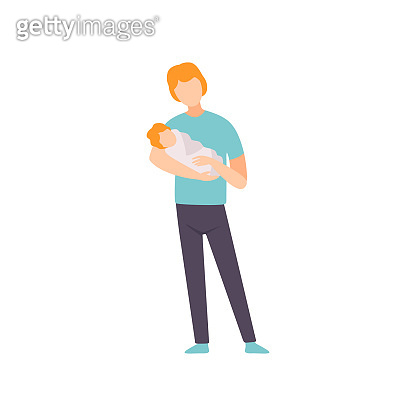 Father Holding Newborn Baby on His Hands, Parent Taking Care of His Child Vector Illustration