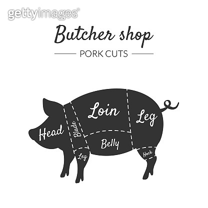 Butcher Shop Label, Pork Cuts, Farm Animal with Meat Cuts Lines, Vintage Black and White Vector Illustration