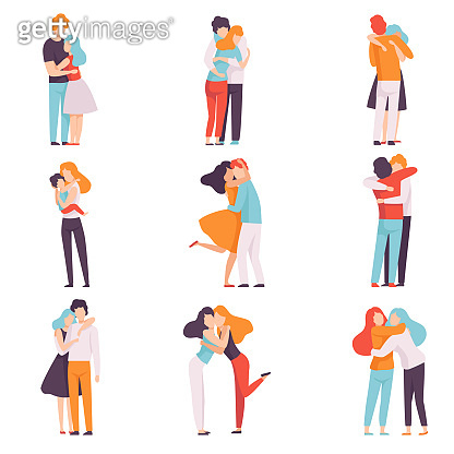 Happy Young Male and Female Embracing Each Other Set, People Celebrating Event, Couples in Love, Best Friends Vector Illustration