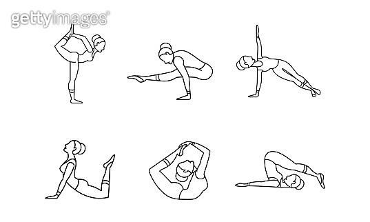 Yoga asanas linear icons set, girl practicing yoga, collection of yoga poses vector Illustration on a white background