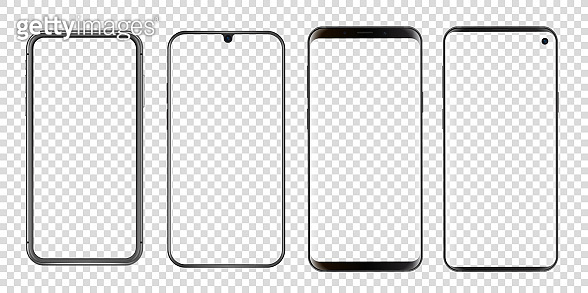 Different abstract modern smartphones vector mockup. Template for mobile screenshots