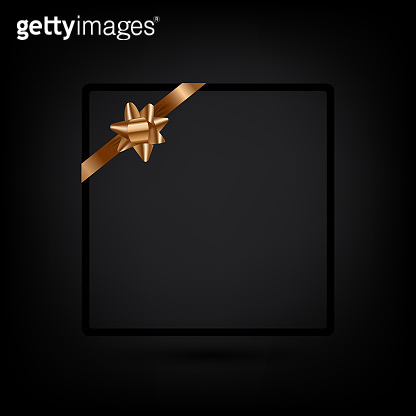 Holiday greeting card template with golden ribbon. Vector copy space for a text