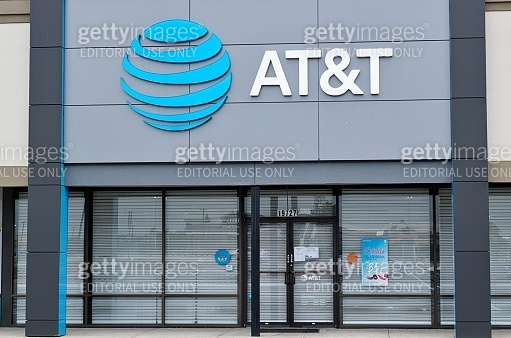 An AT&T telecommunications store front in Humble, Texas.