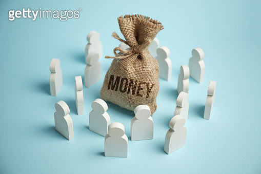 Figures of people are drawn to bag of money and wealth