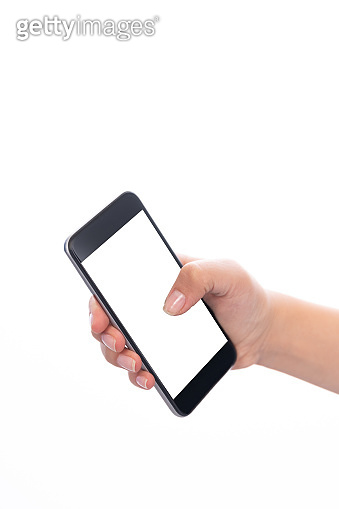 Smartphone with a blank white screen. New popular smartphone in hand on white background