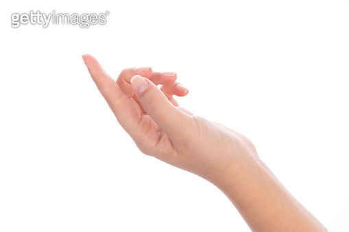 Woman hand with index finger pointing on white background