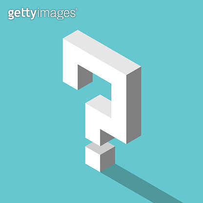 Isometric white question mark
