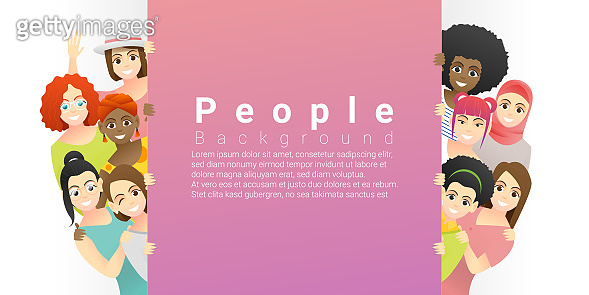Diversity concept background , group of happy multi ethnic women standing behind empty board , vector , illustration