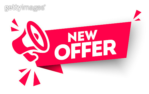 Modern red vector banner ribbon new offer with megaphone. Web element.