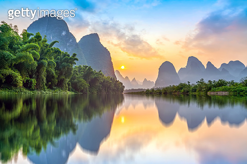 The beautiful landscape of the Lijiang River in Guilin