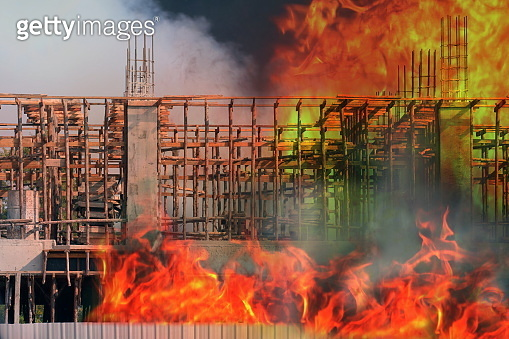 Fire, Building fire Construction site area, fire home burn, Smoke and fire Pollution burn at building, burning house