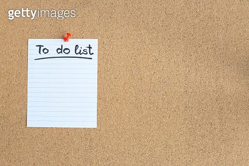 Cork memory board with blank piece of paper, to do list, bulletin board, horizontal, copy space