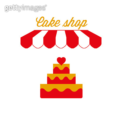 Bakery, Cake Shop Sign, Emblem. Red and White Striped Awning Tent. Vector Illustration