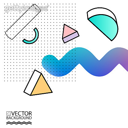 Tendy illustration backgrounds, placards with abstract liquid shapes, 80s geometric geometric style flat and 3d design elements. Retro art for covers, banners, flyers and posters.