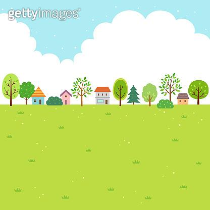 Summer nature and village landscape
