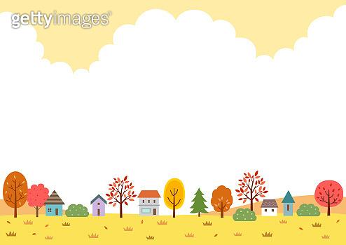 Autumn nature and village landscape