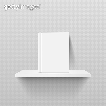 Bookshelf realistic vector illustration. Rack mockup front view. 3D shelf with blank book on transparent background.