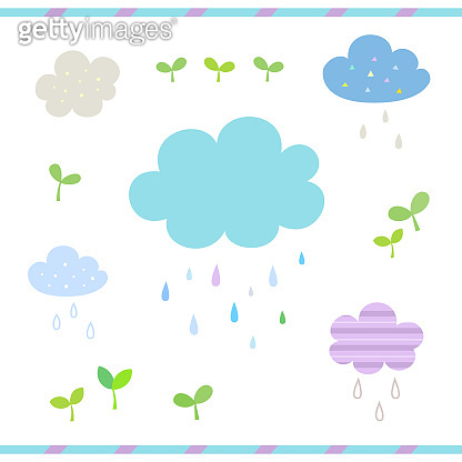 Set of cute clouds and rain