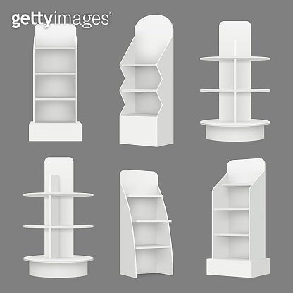 Empty shelving stands. Merchandising market retail display racks in supermarket vector realistic illustration