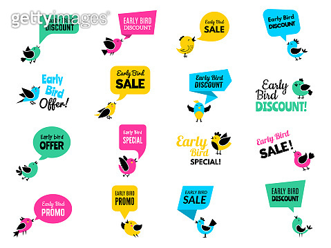 Early birds badges. Advertizing discount labels special business offers vector birds set