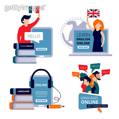 Language courses. Study english learning chinese italian use dictionary for learning training center vector concept pictures