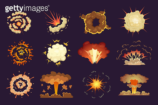 Bomb explosion. Motion abstract blast fire and clouds exploded vector cartoon collection