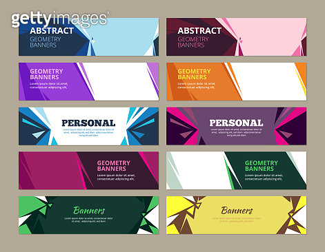 Abstract banners. Geometric effects graphic templates vector forms for horizontal web colored banners with place for text
