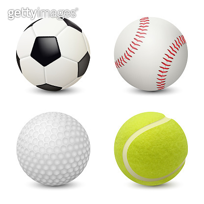 Sport balls. Baseball football tennis golf vector realistic sport equipment