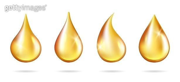 Shine yellow droplets. Realistic oil drops isolated on white background. Vector liquid drip juice honey petrol