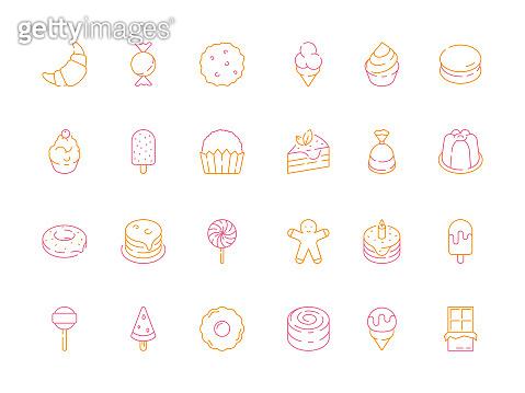 Colored dessert icons. Birthday sweets cakes candy tiramisu delicious food jelly ice cream vector symbols