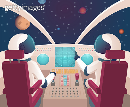 Pilots in spaceship. Shuttle cockpit with pilots in costumes vector cartoon space with planets