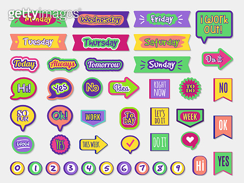 To do stickers. Planner sticky paper organizer labels badges for agenda notepad trendy lettering different styles vector set