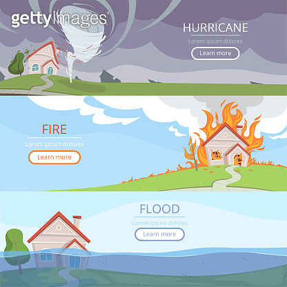 Disaster weather banners. Tsunami volcano wind storm rain house damage from lightening vector pictures with place for text