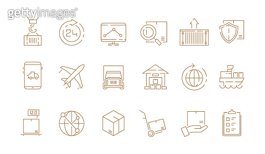 Logistic thin symbols. Delivering boxes and transport van free shipment sea freight vector outline icons collection