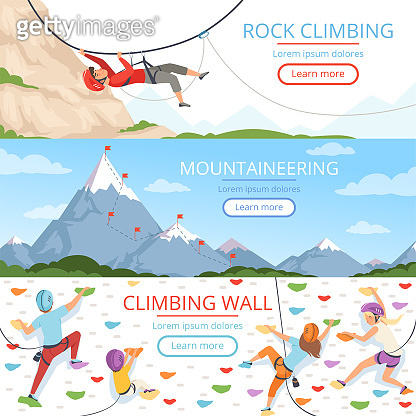 Mountain climbing pictures. Rope carabiner helmet rockie hills people extreme sport vector banners template with place for text