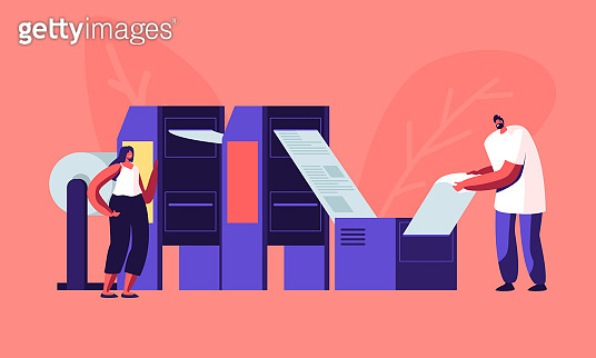 Newspaper Production Process in Typography. Print House Workers Working with Printing Machine Put Paper inside and Getting Fresh Publishing. Press Media Industry Job. Cartoon Flat Vector Illustration