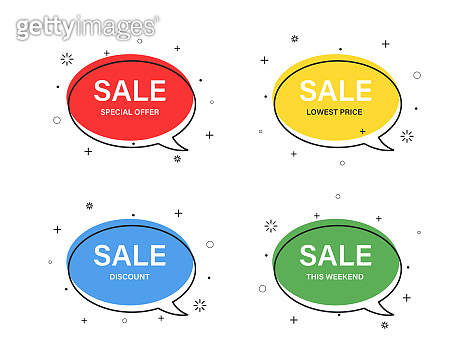 Colored speech bubble shaped isolated in trendy flat style banners, price tags, stickers, badges. Vector illustration