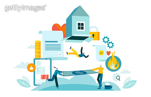 Agency pays home insurance. Concept vector illustration EPS 10 isolated on white
