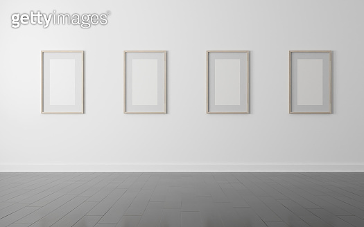 View of white gallery space in Scandinavian style with wood picture frame on wall in dark laminate floor.Perspective of minimal design architecture. 3d rendering.