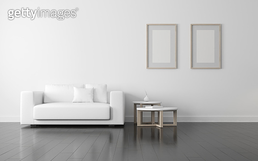 View of white living room in scandinavian style with wood furniture on dark laminate floor.Perspective of minimal design architecture. 3d rendering.