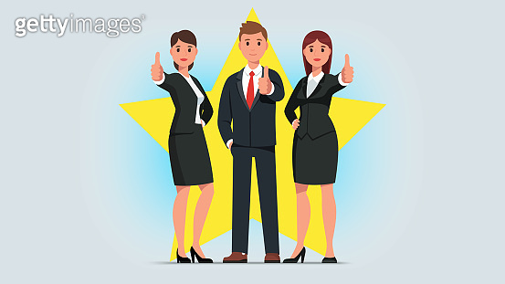 Business man & woman showing thumb up gesture. Successful business people characters standing gesturing businessman showing positive feedback. Flat isolated vector character illustration
