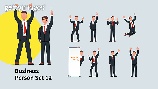 Set of cheerful business man gestures. Collection of business people celebrating success and advertising product. Businessmen raising hands and showing thumb up. Flat vector character illustration collection