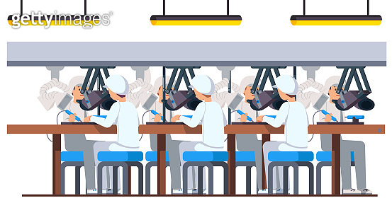Manufacturing electronics. Modern electric pcb factory assembly line with soldering irons and ventilation. Engineer workers working assembling, soldering, testing with electronic oscilloscopes. Flat cartoon vector character illustration