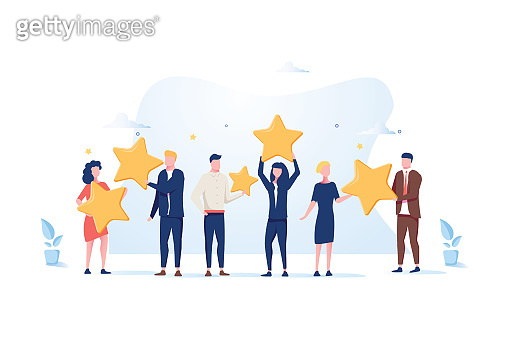 Customer review rating. Different People give review rating and feedback. Flat vector illustration.