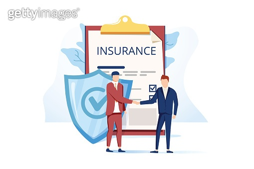 Flat Metaphor Poster Presenting Insurance Services. Cartoon Male Customer and Agent Shaking Hands over Huge Safe Contract
