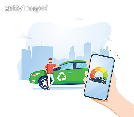 Man Holding Phone and Watching Level of Refill. Refueling Banner Vector Illustration. Eco Transport. Nature Saving