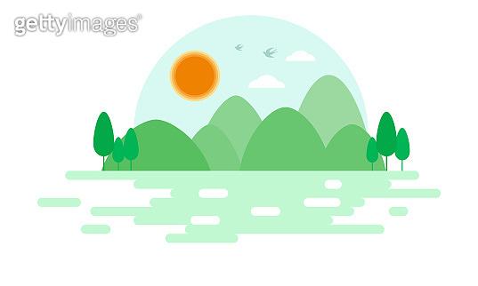Flat style landscape illustration, green hills and green water illustration