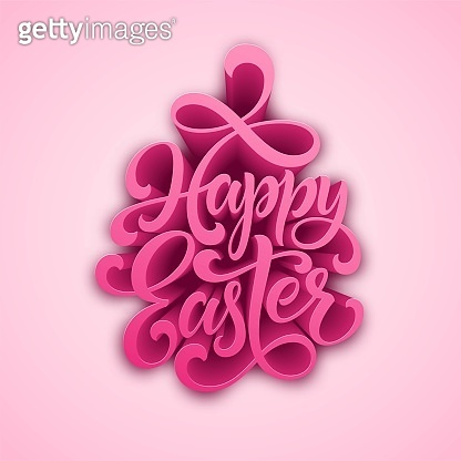 Happy Easter handwritten lettering. Holiday calligraphy. Vector illustration